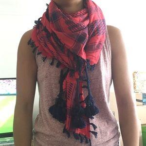 J.Crew square red blue check tassel scarf